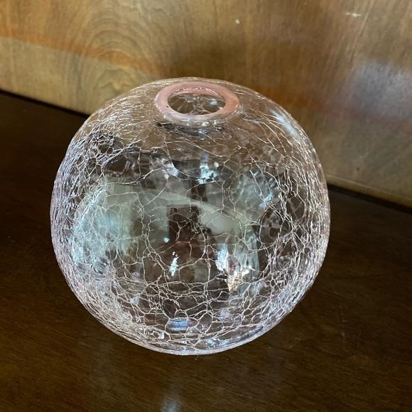Pink Silvestri Crackled Glass Round Vase